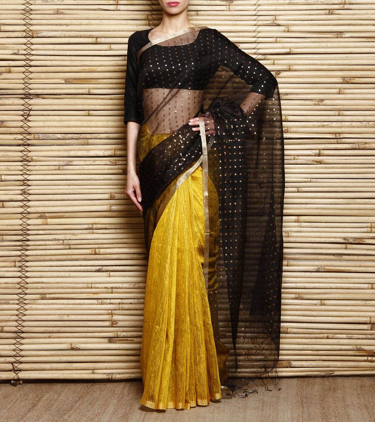Beautiful yellow and black saree india roots