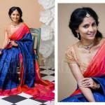 Royal Blue Kanjivaram Saree with Checks by Bhargavi Kunam