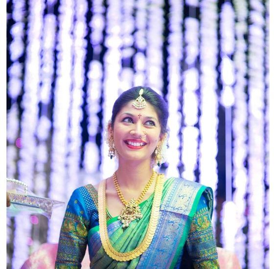 pranathi reddy in green kanjivaram saree