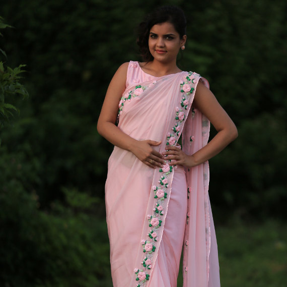 Thread Work Embroidery Baby Pink Chiffon Saree