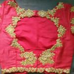 Gold Zardosi Work on Pink Raw Silk Blouse