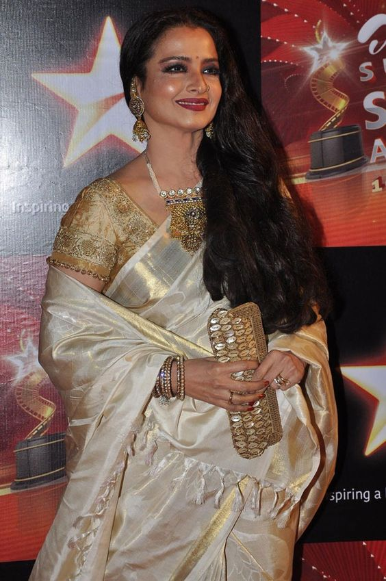 Rekha wearing Off White Silk Saree