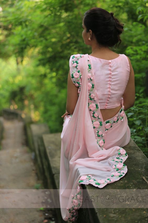 baby pink chiffon saree