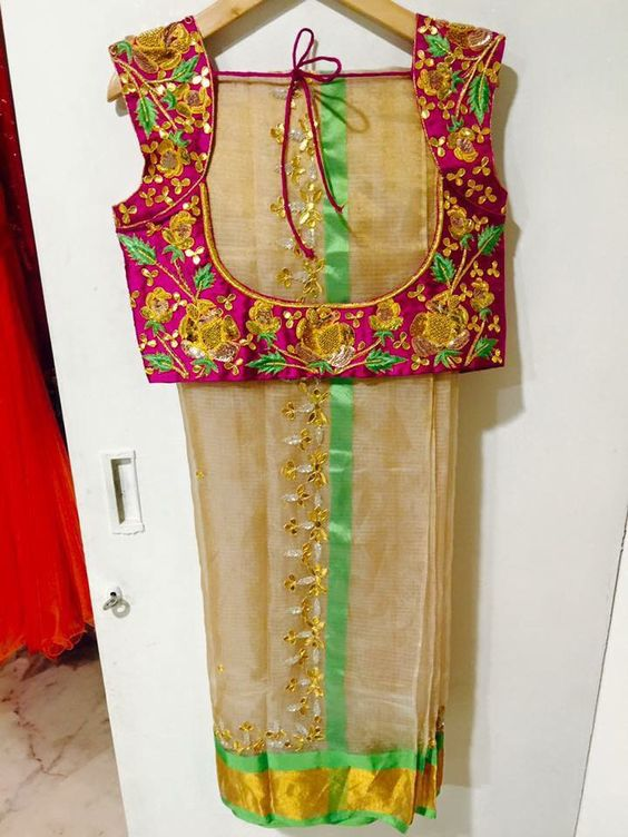cream kota silk saree with green border