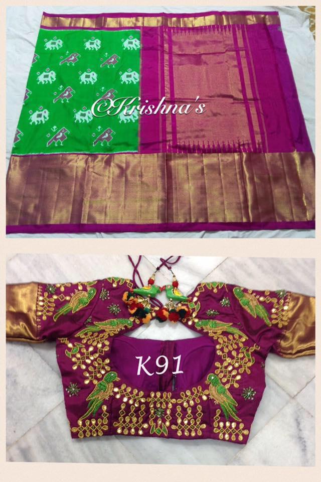 green ikat saree with peacock design