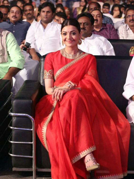 kajol-wearing-red-organza-saree-bramhotsavam-movie-audio-launch