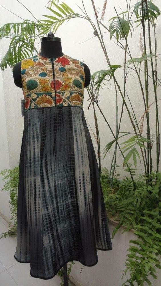 black shibori salwar suit with kalamkari patch