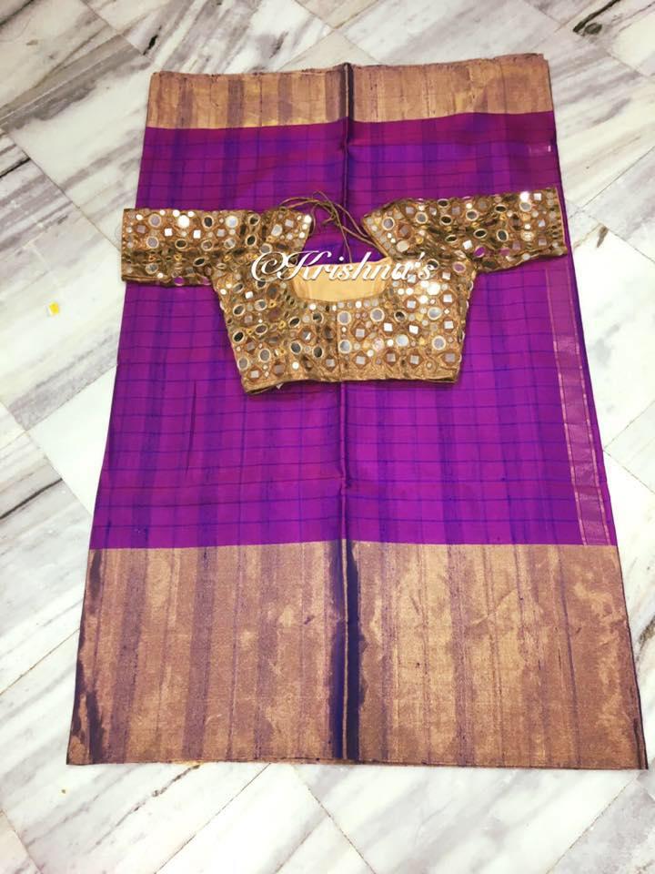 magenta kanjivaram saree with heavy mirror work blouse