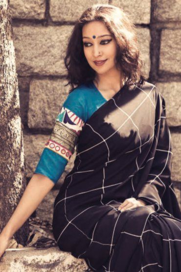 vintage black checks saree collection from calantha wardrobe