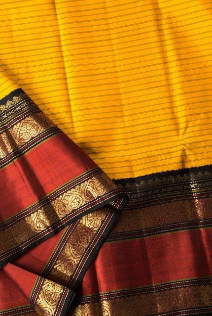 mango yellow kanjivaram saree