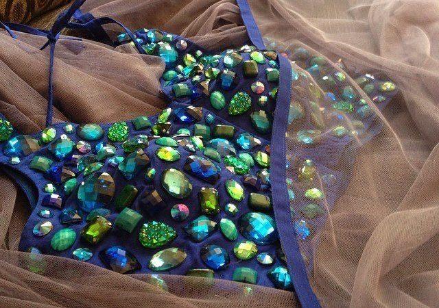gray net saree with blue stone work from akshaya creations