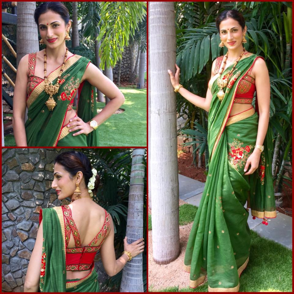green chanderi saree with bustier blouse
