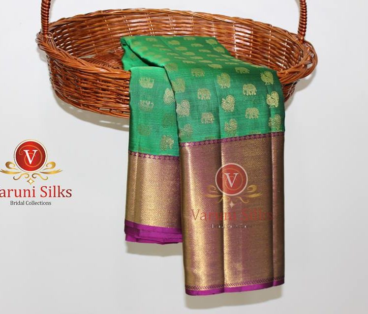 green kanchipuram silk sarees