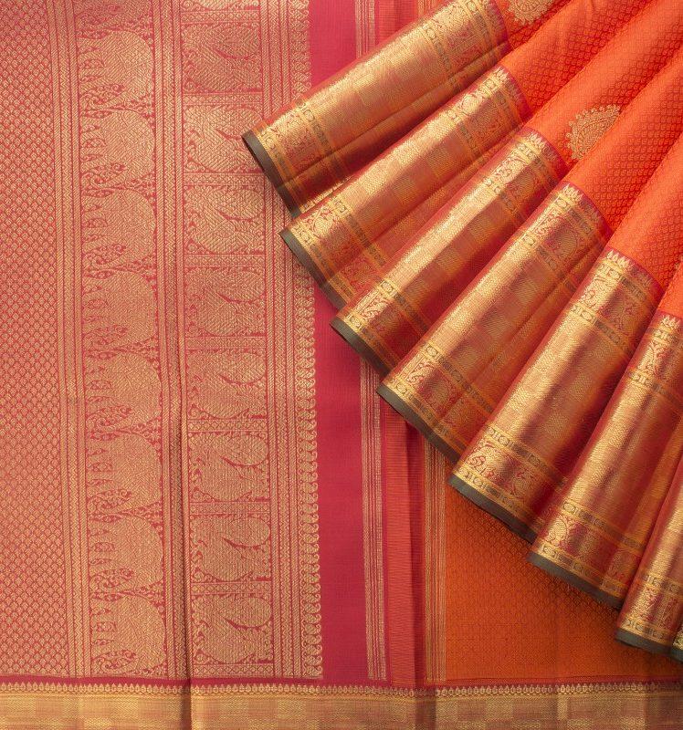 handwoven orange kanakavalli kanjivaram saree