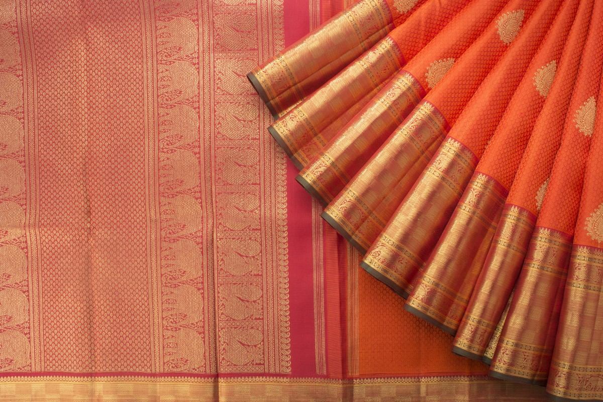 orange kanjivaram kanakavalli saree