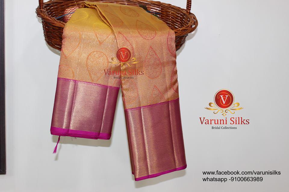 light mustard kanchipuram silk saree