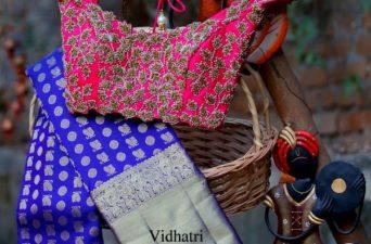 royal blue bridal kanjivaram saree