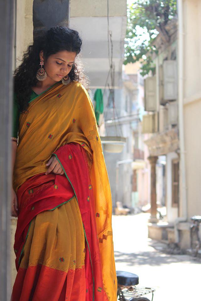yellow and red kutch work cotton saree