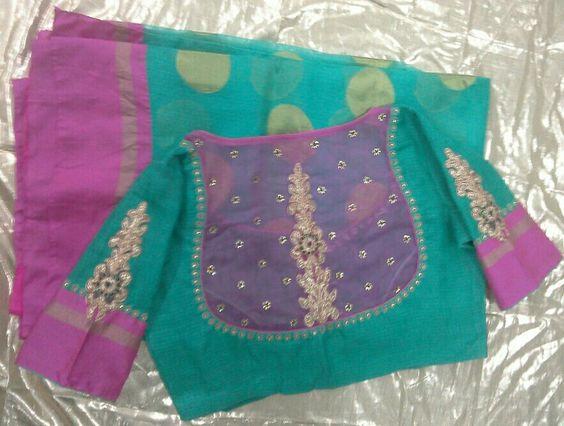 green kota sarees with back high neck blouse
