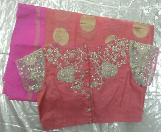 peach kota sarees with gold aplic work on blouse