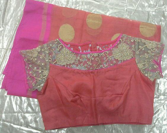 peach kota sarees with gold applic work on blouse