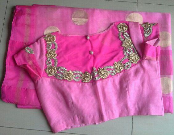 pink kota sarees with back high neck net blouse