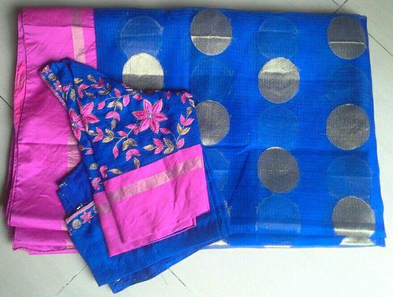 royal blue kota sarees with maggam work blouse