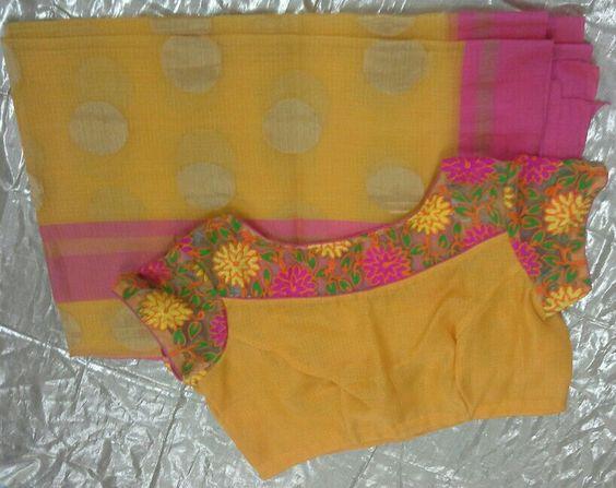 yellow kota sarees with boat neck blouse
