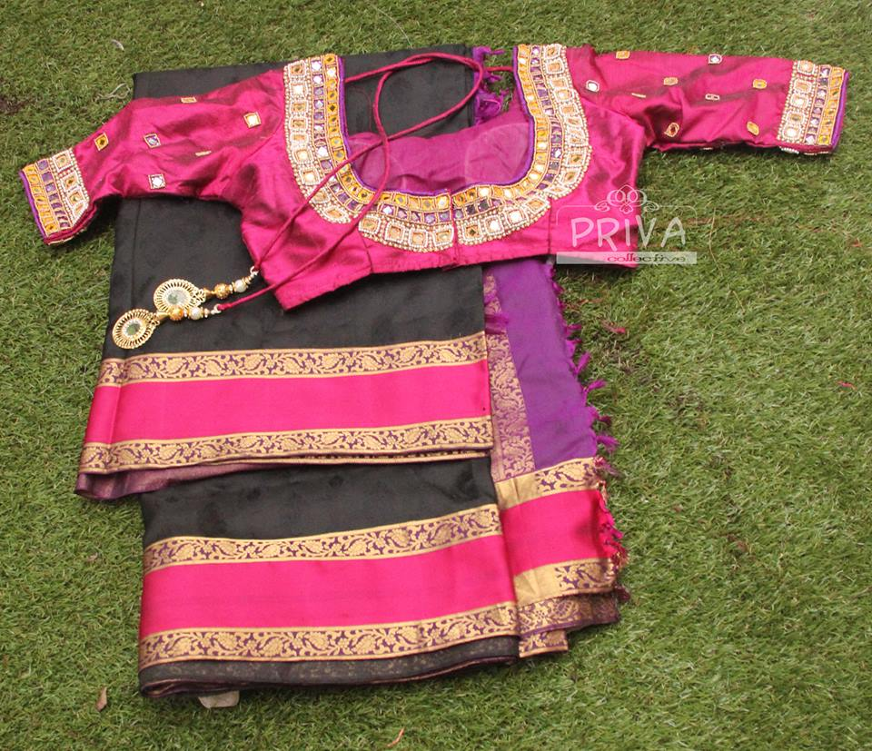 Black Kanjivaram Saree with Pink Mirror Blouse