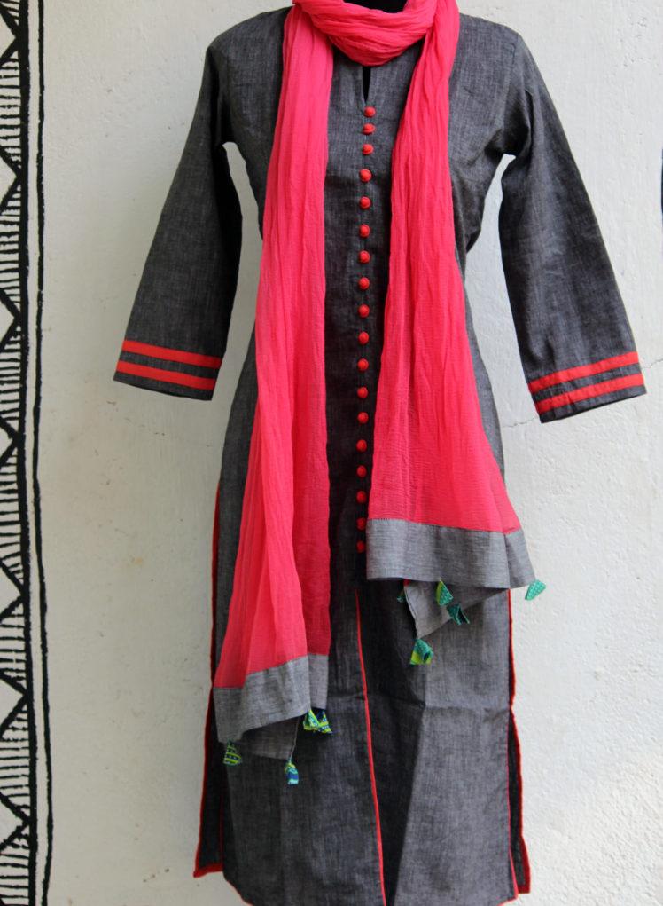 grey black long kurta from maaticrafts
