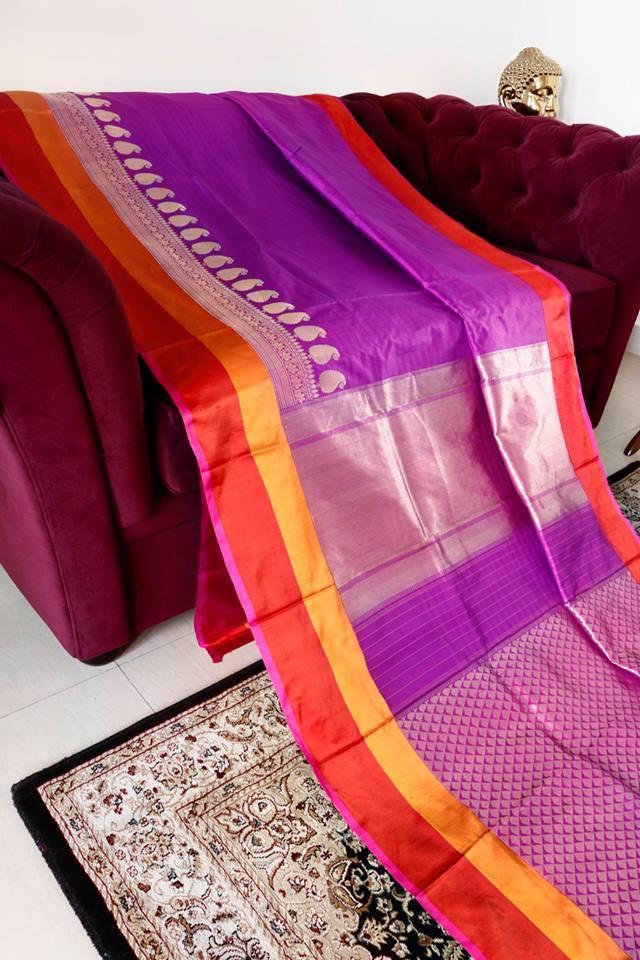 pure mangenta banarasi silk saree from umedaa