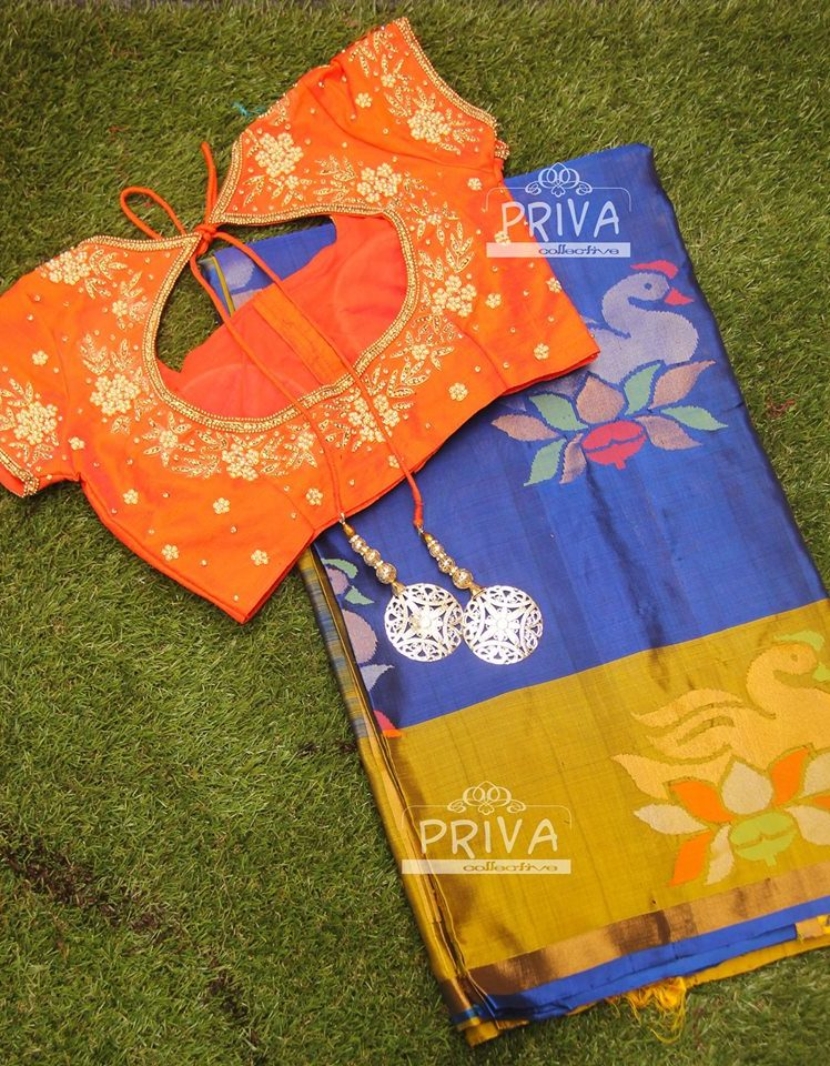 royal blue uppada saree with orange customised designer blouses