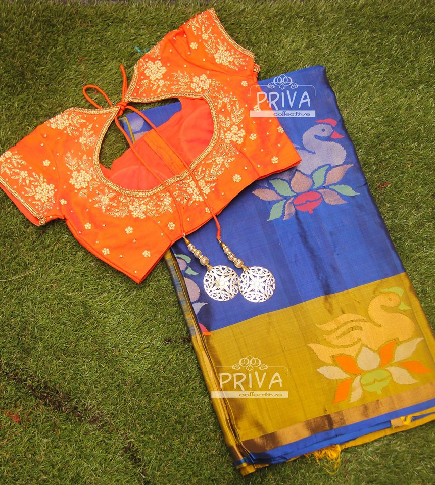 royal blue uppada saree with orange designer blouse