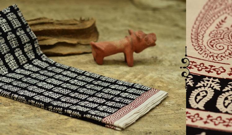 bhagni black cotton printed saree