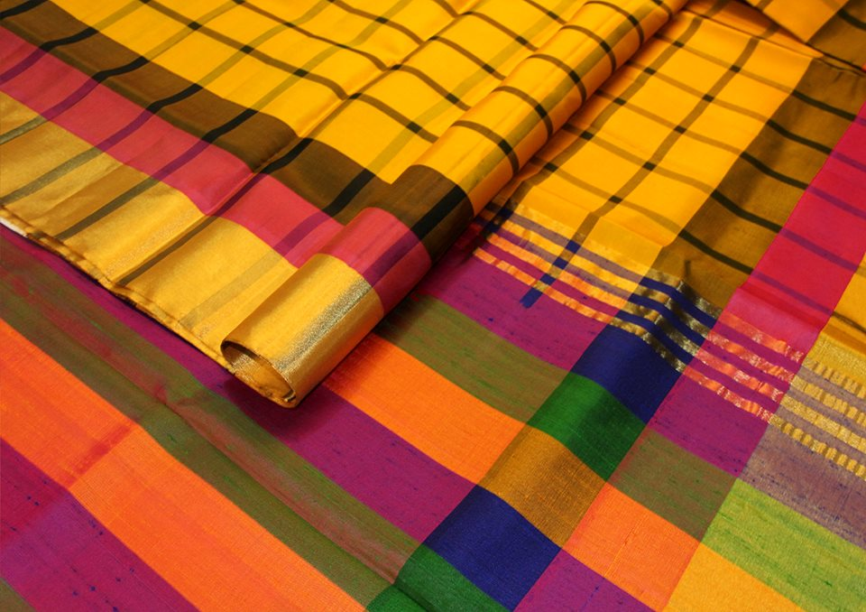 bright-yellow-multicolour-checks-designer-silk-saree