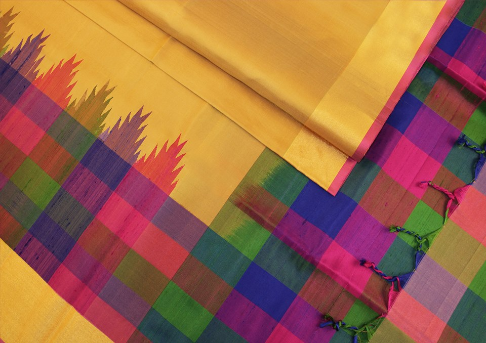 golden-mustard-multicolour-checks-designer-silk-saree