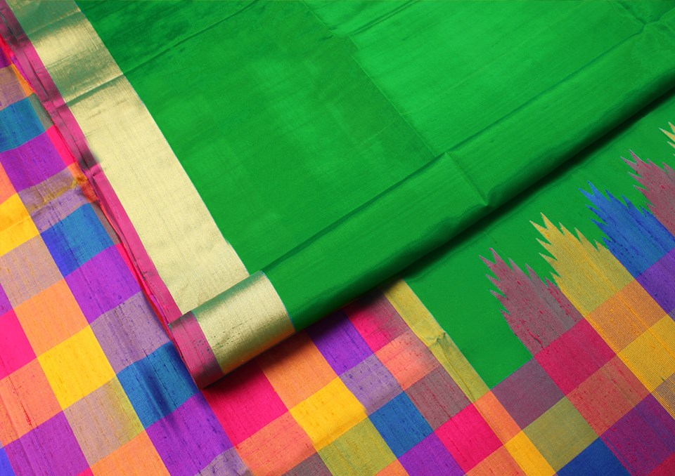 leaf-green-multicolour-checks-designer-silk-saree