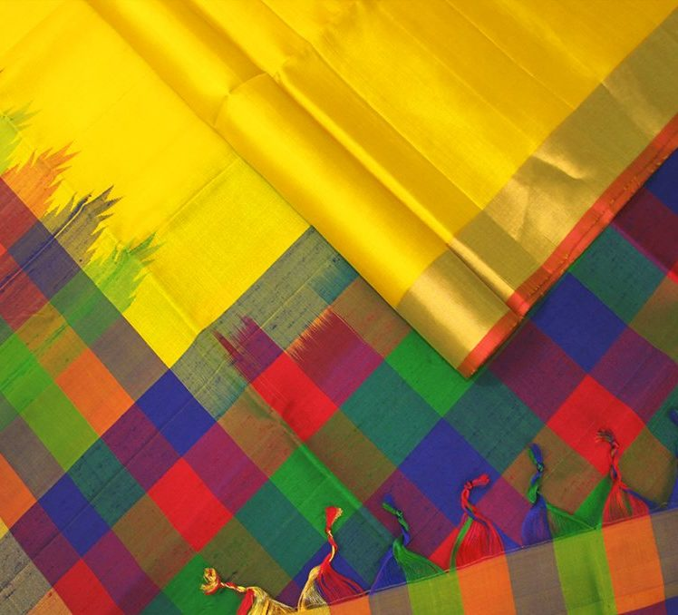 lemony-yellow-multicolour-checks-designer-silk-sarees