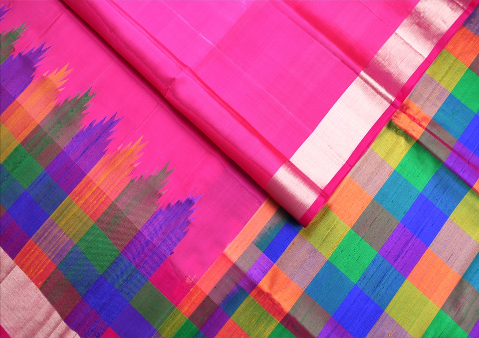 rani-pink-multicolour-checks-designer-silk-saree