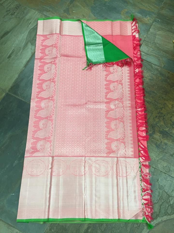 reddish pink bull print kanjivaram saree from house of taamara 1