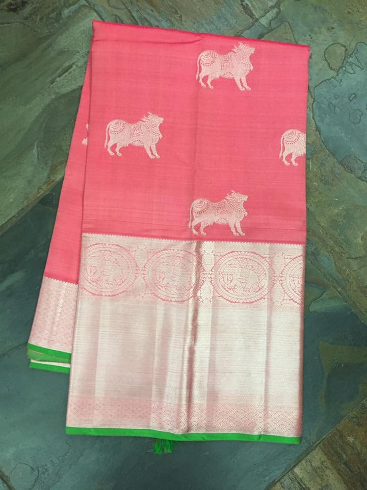 reddish pink bull print kanjivaram saree from house of taamara