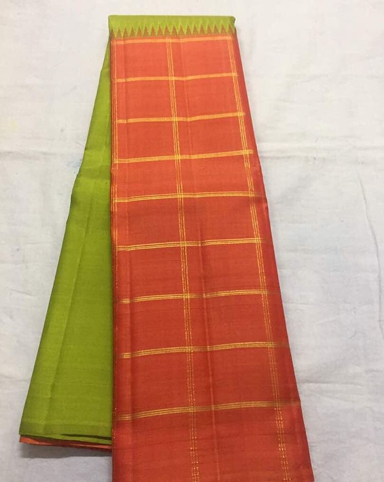 Light Mehandi Green Kanjivaram Silk saree from Eternal Weaves