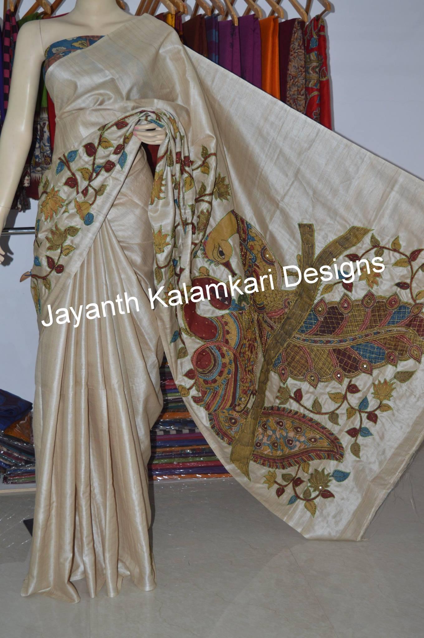 pen kalamkari patch work saree on desi tussar 1