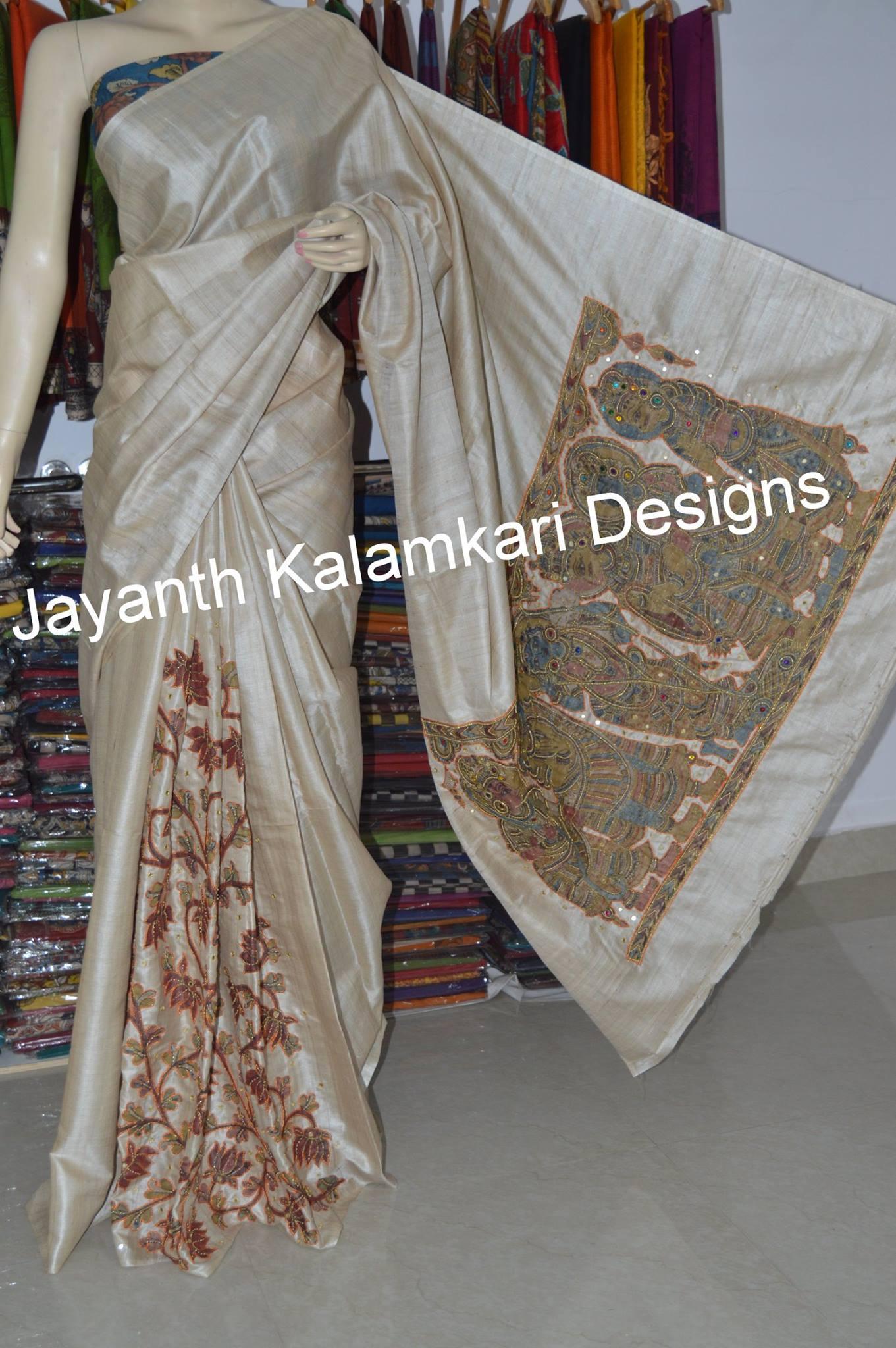 pen kalamkari patch work saree on desi tussar 2